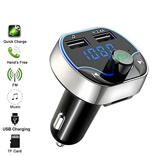 Jeans Dream - Transmisor Bluetooth para Coche, Kit Manos Libres Bluetooth con Llamada Manos Libres FM, Reproductor MP3, Soporte Tarjeta TF Disco USB