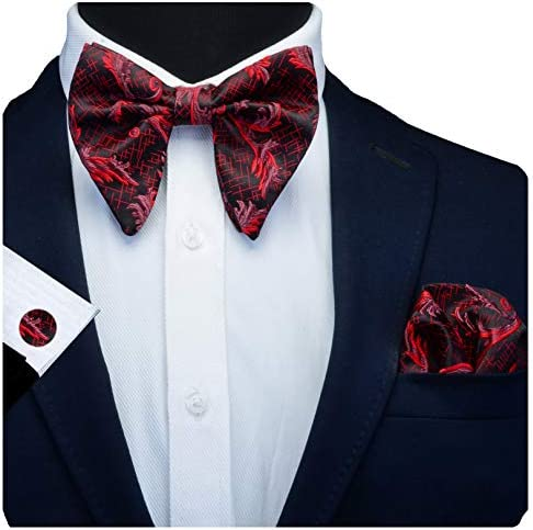 GUSLESON Floral Red Bow Ties for Men Silk Black Pre tied Big Bowtie and Pocket Square Cufflink product image