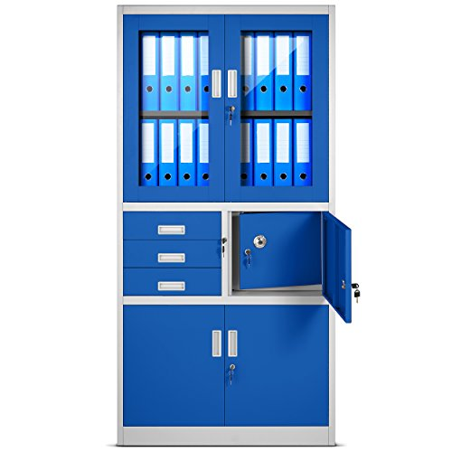 Jan Nowak by Domator24 Aktenschrank C018S Büroschrank Metallschrank Tresor Safe Geheimfach Flügeltüren Schubladen Pulverbeschichtung Stahlblech 185 cm x 90 cm x 40 cm (H x B x T) (grau/blau)