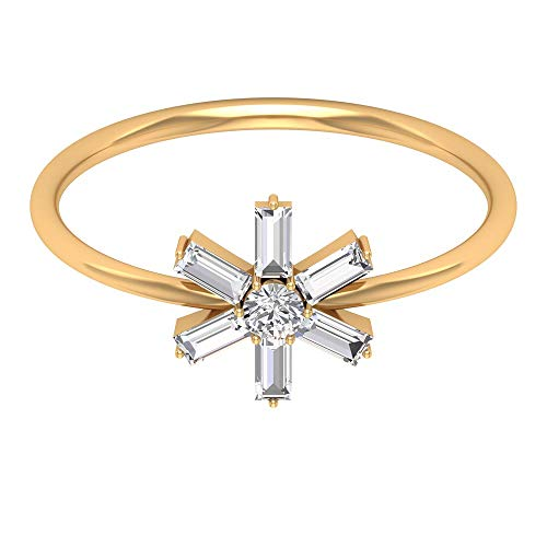 Solitario de 2,5 mm de corte brillante redondo certificado diamante anillo de boda, Sunburst HI-SI Baguette en forma de anillo de aniversario, 14K Oro amarillo, Size:EU 61