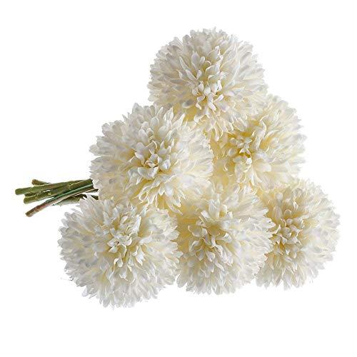Magiin 6pcs Flores Artificiales Dientes de Leon Flores Falsas Ramo Falso Decoracion Floral para Ramo de Boda Nupcial Decoración de Boda Fiesta Jardín (Blanco)