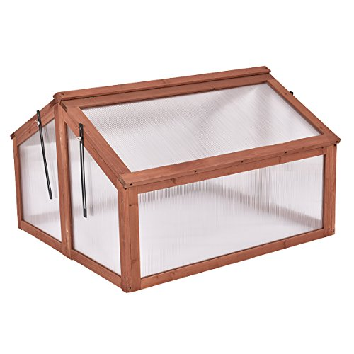 Giantex Garden Portable Wooden Cold Frame Greenhouse Raised Flower Planter Protection (35.4'X31.3'X23.0')