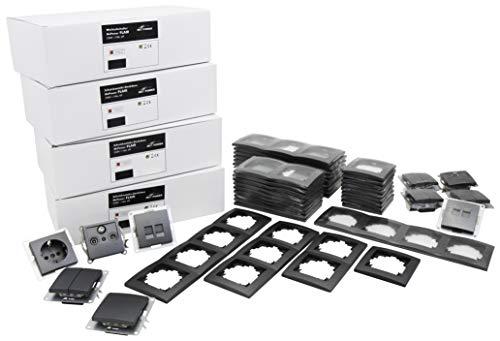 MC Power - Juego de enchufes e interruptores, 100 piezas, color gris antracita mate
