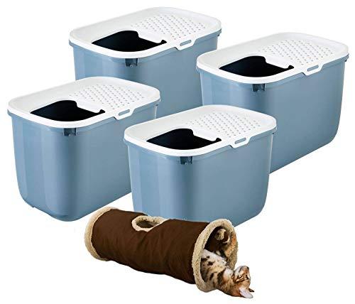 PETGARD 4er Sparpack Katzentoilette HOP IN Einstieg von Oben Bluestone mit gratis Spieltunnel