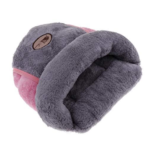 FLAMEER Haustier Schlafsack Kuschelsack Kuschelhöhle Weich Gemütlich Bett Höhle für Katzen, Welpen und Kleintiere, 35x29 cm - Grau