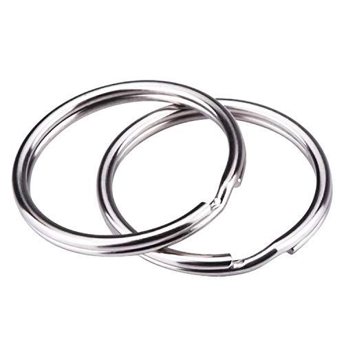 REIDA® Schlüsselringe 25mm 100 Stück vernickelter Silberstahl, abgerundete Kanten, runder Schlüsselbandring, Schlüsselanhänger-Ring-Clips (25mm 100 Stück)