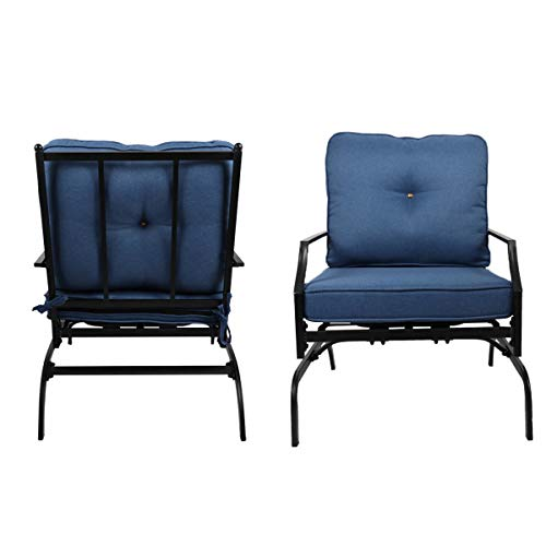 Rocking Patio Festival Chairs Outdoor, Metal Furniture Motion Spring Patio Chair Set of 2 with Elasticity Seat Cushions and Black Metal Frame for Porch Garden Balcony Backyard (Blue)