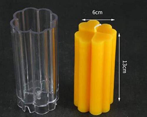 AMITD - Juego de 2 moldes para hacer velas con forma de trébol, transparentes, para fabricar velas, accesorios para velas, herramientas, forma de vela, 6 x 13 cm