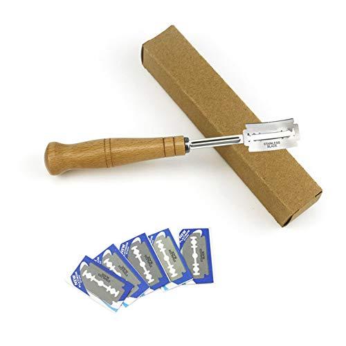 Yissma Bäckermesser, Baguettemesser mit 5pcs Rasierklinge, Teigmesser, Bretzelmesser, Ritzmesser zum Einschneiden von Baguette, Brot oder Brötch mit Authentic Lederschutzhülle