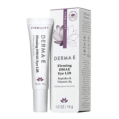 DERMA E Firming DMAE Eye Cream – Multi-Action anti-aging under eye cream firms, tightens and lifts – Reduces bags and smooths the appearance of laughter lines, bags and dark circles –Peptides, Vitamin B3 and DMAE infused for collagen support