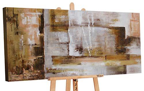 YS-Art | Dipinti a Mano Colori acrilici Astrazione VII | Quadro Dipinto a Mano | 120x60cm | Pittura | Dipinti Modern | Quadri Dipinti a Mano | Marrone