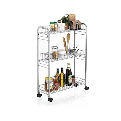 CARO-Möbel Rollwagen Rollcontainer Küchenwagen Beistellwagen Küchentrolley Zeta verchromtes Metallgestell mit 3 Ablagen