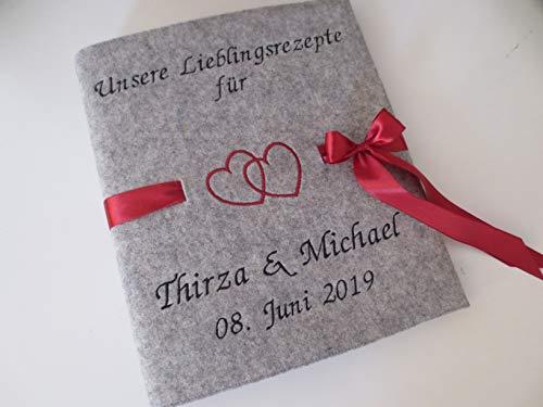 Hochzeitsordner Rezeptordner Kochbuch Gästebuch kochen Namen Wollfilz DIN A4