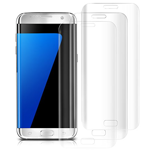 Atill 3 Pack Samsung Galaxy S7 Edge Screen Protector, Tempered Glass Screen Protector with Full Coverage, 9H Hardness, HD Clear, Transparent…