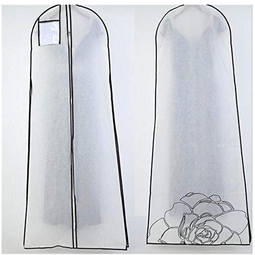 Peng Sounder-hm Kleidung Abdeckungen 100 Sets Single Breathable Brautkleid Kleiderbeutel mit internem Reißverschluss und Tasche, Weiß für Storage (Farbe : Weiß, Größe : A)
