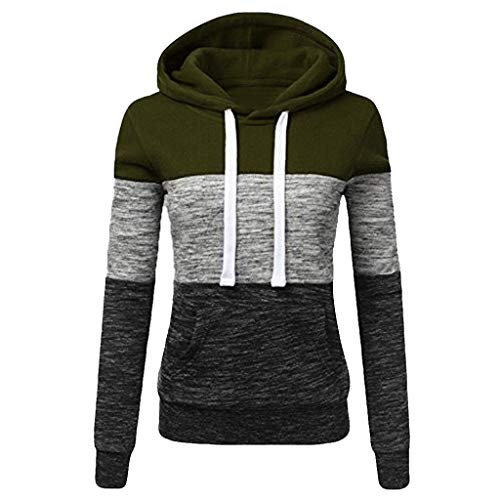 FONMA Fashion Womens Casual Hoodies Sweatshirt Patchwork Coat Hooded Blouse Pullove Army Green