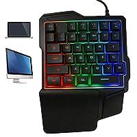 Paddsun ミニ 片手ゲームキーボード RGB LED バックライト USB有線ゲーム 35キーアクセサリー