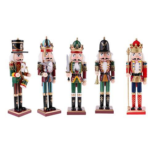 Harilla 5pcs 30cm Madera Cascanueces Soldado Rey Figuras Muñeca Marioneta Decoración para El Hogar Regalo