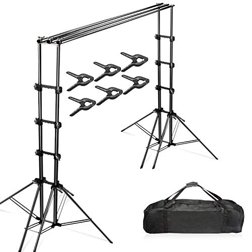 Julius Studio Double Stable 10 x 8.5 ft. Photography Triple Backdrop Support System Kit with 6 Leg Support Stands, Extendable Cross Bar, and Carry Bag, JSAG443