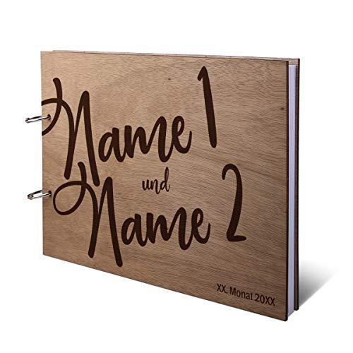 Hochzeit Gästebuch Okoume Holz Gravur individuell Holzcover mit 144 Naturpapier Innenseiten DIN A4 quer 302 x 215 mm - Comic Schrift