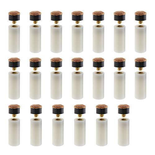 20 Kits mit 10 mm Harten, Braunen, Aufschraubbaren Billard Queue Spitzen mit Einschraubbaren Ferrule Gehäusen für Ersatzzubehör