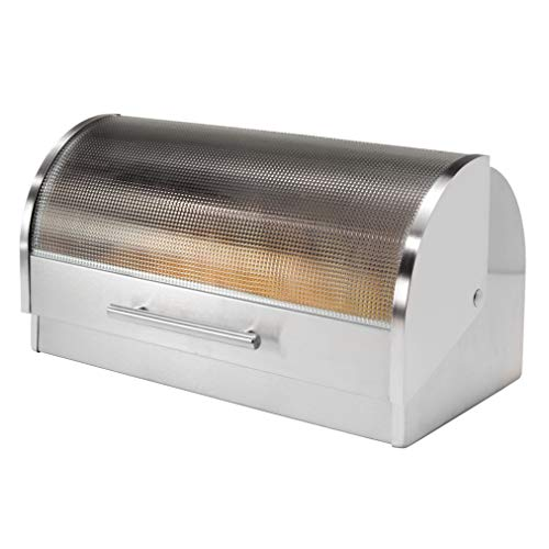 Oggi Stainless Steel Roll Top Bread Box with...
