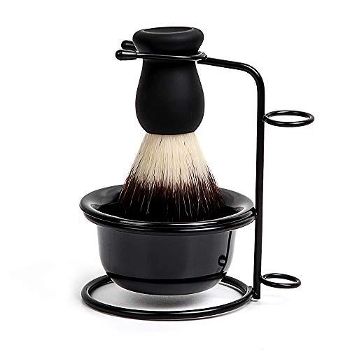 OOCOME Juego de brochas de afeitar 3 en 1 con cuenco de jabón de afeitar y soporte de afeitado de acero inoxidable, kit de herramientas de limpieza para hombres, salón, hogar, viajes, uso