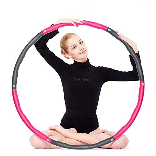 Hula Hoop Fitness,Sucastle Deportivo Hula Hoop,Con 8 Secciones Fácil Aro de Hula de Fitness Desmontable, Professional Hula Hoop Adultos Fitness 1kg,Ajustable de Tamaño (20-35in) (Rosa y Gris)