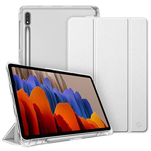 Fintie Hülle für Samsung Galaxy Tab S7 11 2020 - Silm Schutzhülle mit durchsichtiger Rückseite Abdeckung Cover, Auto Schlaf/Wach für Samsung Tab S7 SM-T870/875, Silber