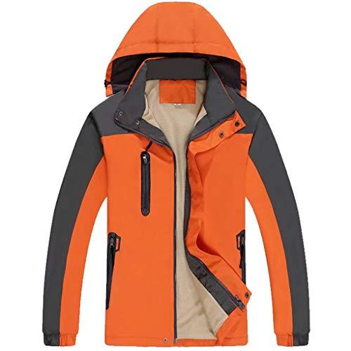 DXIN Chaqueta de felpa roja impermeable y resistente al viento para parejas de otoño e invierno chaqueta de montañismo gruesa y cálida sombrero desmontable (color naranja-M)