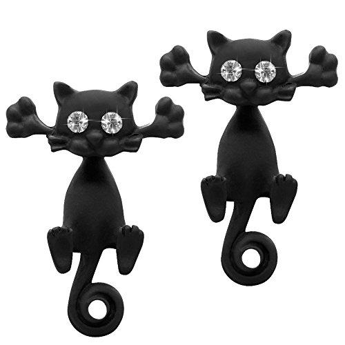 Soul-Cats® 1 Paar Ohrstecker Katzen Strass 3D, Farbe: schwarz