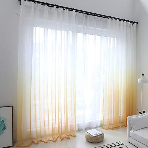 Rideaux en Tulle de fenêtre de Couleur dégradé Moderne pour Salon Chambre Rideaux en Voile d'organza décoration d'hôtel Rideaux Transparents (Yellow, W150cm x H250cm)