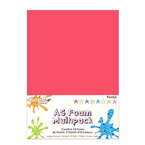 Dovecraft Confezione di 40 Fogli di Schiuma in Formato A5, Colori Pastello Assortiti, Multicolore, Taglie Unica