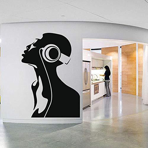 Tianpengyuanshuai Wandaufkleber Kunst Musik Kopfhörer Melodie Design Dekorative Wandetui Abnehmbar 50X72cm