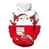 Qishi - Suéter con capucha 3D para hombre, diseño de Papá Noel