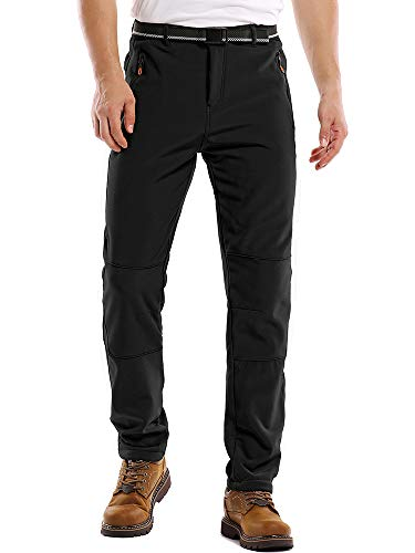 Fulture Direct Mens Fleece Lined Waterproof Pants Insulated Softshell Hiking Pants Mens Outdoor Winter Snowboard Ski Pants, Black 40