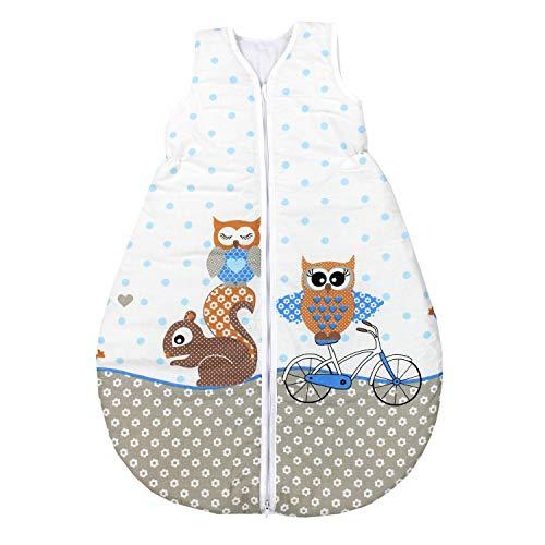TupTam Unisex Baby Schlafsack ohne Ärmel Wattiert, Farbe: Eulen 2 Blau, Größe: 92-98