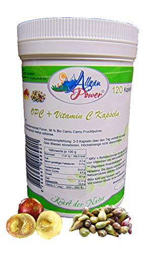 OPC + Vitamin C Kapseln aus Traubenkernextrakt und Camu Camu - 120 Stück a 650 mg