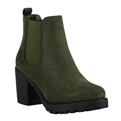Stiefelparadies Damen Stiefeletten Chelsea Boots Wildleder-Optik Schuhe High Heel Plateau Booties...