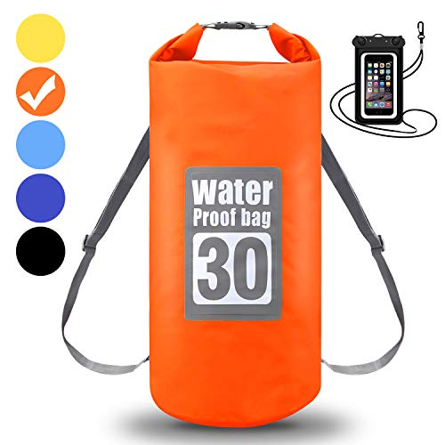 WIN.MAX Wasserdichte Wasserdichter Packsack mit Handybeutel, Orange, 15L