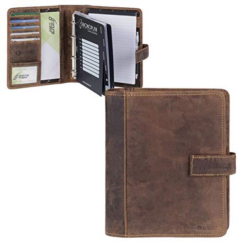 Greenburry–Agenda Agenda A5piel vintage antiguo marrón con calendario 2018y 2019, sistema Plantilla, lápiz, Carta bloque y piel cuidado Juego