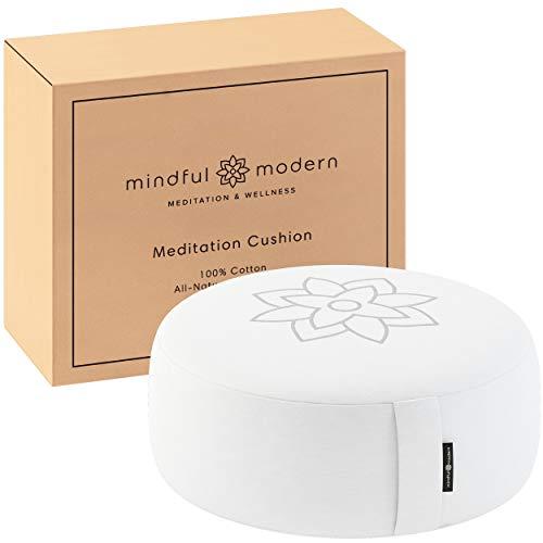 Cojín de meditación y yoga Zafu grande blanco por Mindful and Modern – Yoga puff para postura correcta – Almohadón Redondo relleno de trigo sarraceno con funda lavable y transportable