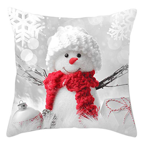 Wanghuaner Creative Nordic Style Christmas Decorative Throw Pillow Case Cute Snowman 3D Print Polyester Peach Vevet Square Cushion Cover