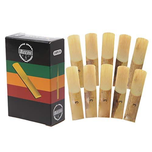 JOYKK 10 Piezas de cañas de saxofón Alto de EB, Fuerza 3 Instrumentos de Instrumento de Viento de Madera Sax - Amarillo Claro