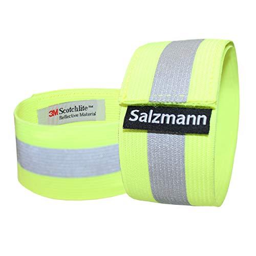 Salzmann 3M Reflektierende Armbinde | Elastisches Armband/Beinband | Hergestellt mit 3M Scotchlite (2 Stück) - Gelb