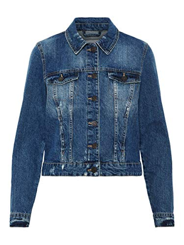 NOISY MAY Damen Jeansjacke NMADA Denim Jacket VI024MB NOOS, Blau (Medium Blue Denim), 34 (Herstellergröße: XS)