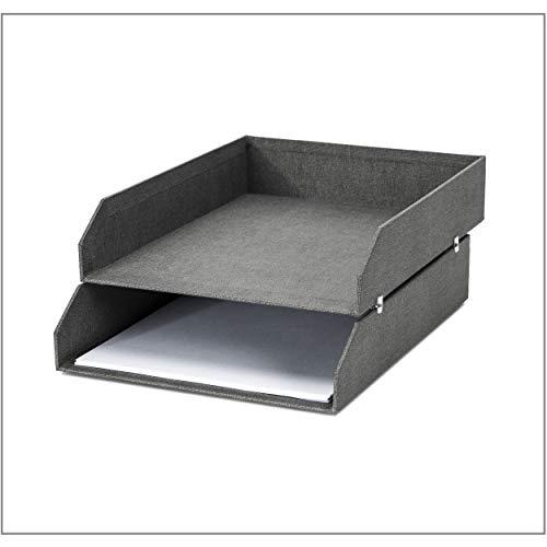 Bigso Box of Sweden 2er-Set Briefablage für den Schreibtisch – stapelbare Ablagefächer für Briefe, Dokumente usw, – Ordnungssystem aus Faserplatte mit Papier in Leinenoptik – grau