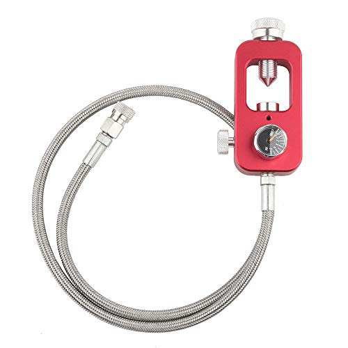IORMAN DIN Valve Scuba Adapter 4500psi High Pressure PCP Paintball HPA Tank Fill Station (Stainless Steel Braided-Red)