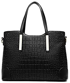 Lady women crocodile PU leather Tote handbag Fashion two pieces suit Multifunction YY20 blcak