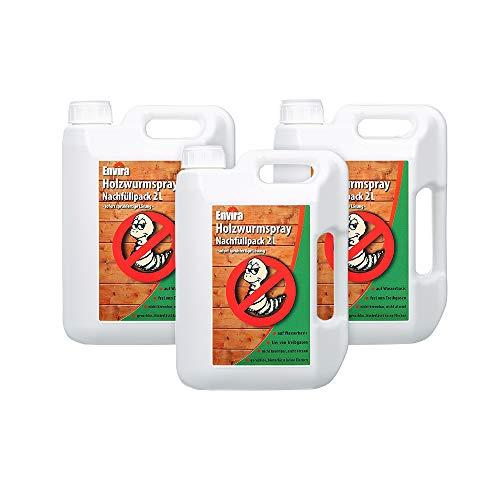 Envira Holzwurm-Spray - Holzwurm Ex Gegen Holzschädigende Insekten Mit Langzeitschutz - Auf Wasserbasis - 3x2Ltr